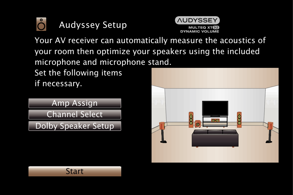 Procedure for speaker settings (Audyssey® Setup) SR6012